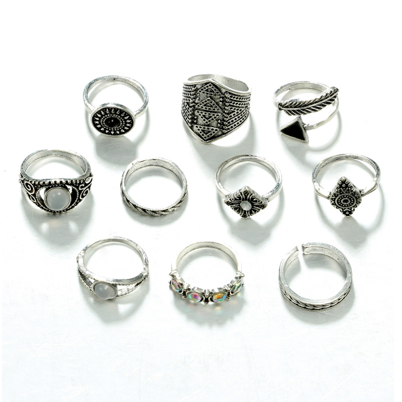 Gold Silver Arrow Leaf Carved Rings 10pcs/Set 1