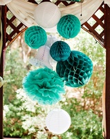 Newest 8pcs Teal White Set Tissue Paper Honeycomb Paper Balls Wedding Hanging Birthday Party Decoration Honeycomb