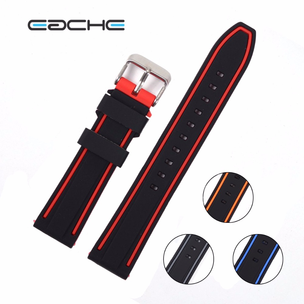 EACHE colorful watch band 20mm,22mm,24mm,26mm Silicone Rubber Watch Straps Waterproof Watchband eache 20mm 22mm 24mm 26mm genuine leather watch band crazy horse leather strap for p watch hand made with black buckles
