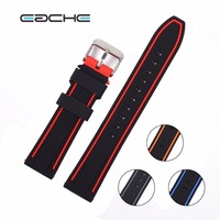 EACHE Colorful Watch Band 20mm 22mm 24mm 26mm Silicone Rubber Watch Straps Waterproof Watchband