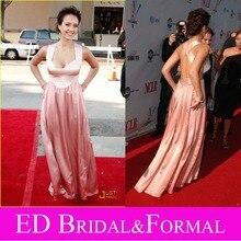 Jessica Alba Zwei Ton Kleid zu 2008 Alma Awards Roter Teppich Schatz Backless Promi Abendkleid Satin Open Back Prom Kleid
