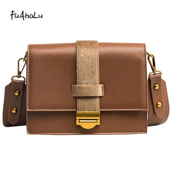 FuAHaLu   Women's new fashion woolen bag simple wild small square bag shoulder strap shoulder bag wide