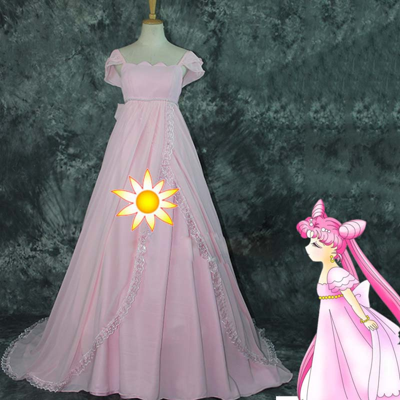 New Arrival Sailor Moon Cosplay Costume Pink Dress Sukino Usagi Small Lady Serenity Costume For Women Halloween Party