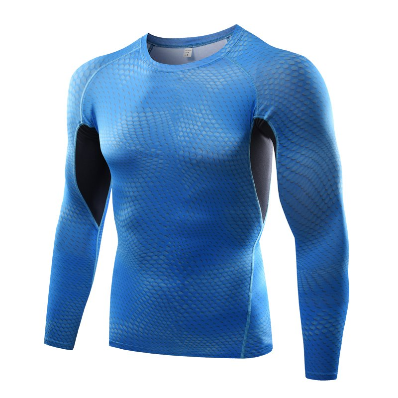 New quick drying compression round collar t shirt men long for Tight collar t shirts
