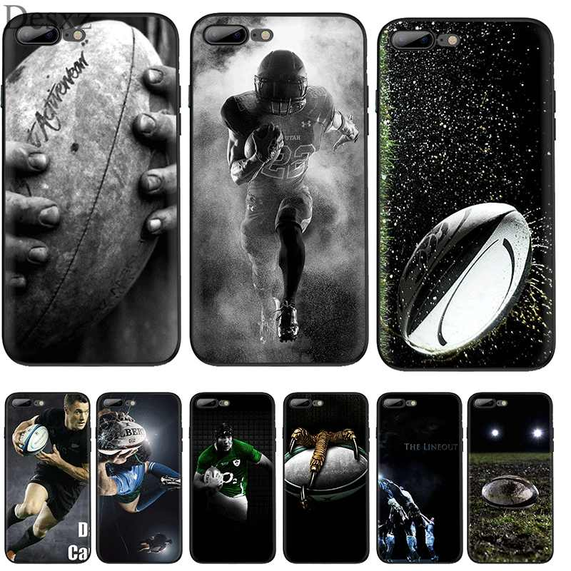 Mobiele Telefoon Case voor iPhone 11 Pro XR X XS Max iPhone 6 6S 7 8 Plus 5 5S SE Cover Rugby Ball Sport Tas Shell Behuizing