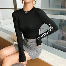 T-Shirt Woman Clothes 2018 Autumn Fashion Letter Embroidery Slim Tshirt Long Sleeve Tops Korean Tee Shirt Femme Womens clothing