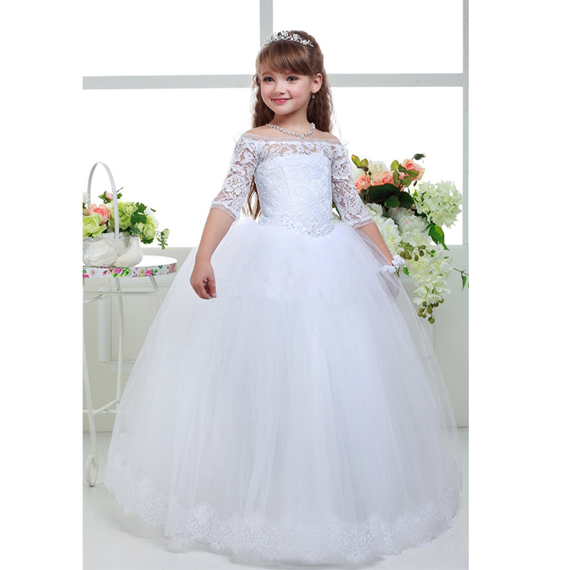 New long lace ball gown flower girls dresses simple kids for Wedding party dresses for women