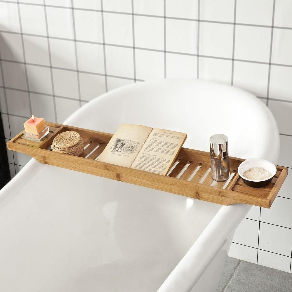 SoBuy FRG212-N, Bamboo Bathtub Rack Caddy Tray, Bathroom Shelf