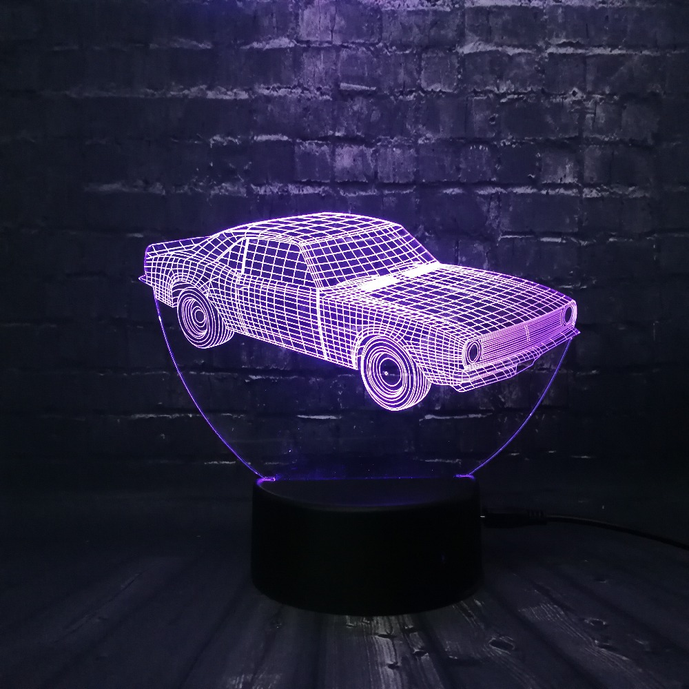 Hot SALE Cuba Retro Animation Cool Car 3D USB LED Lamp Car-Styling - Night Lights - Photo 6