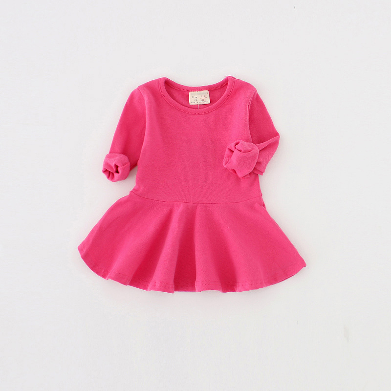 Gigh quality Baby Girls Dress Fashion candy color baby girl Long sleeves Princess Dresses cotton baby Clothing 0-2year