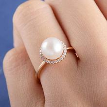 Fine Jewelry Pearl Ring for Women Engagement Gifts Fashion 8MM White Imitation Pearls CZ Rings Wholesale