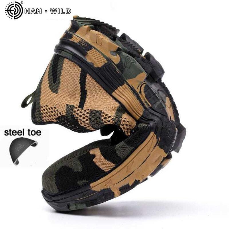De sécurité En Acier Orteil Chaussures Hommes Étanche Travail Chaussures D'assurance Du Travail Ponction Preuve Sneakers Mens Militaire de L'armée Camo Bottes