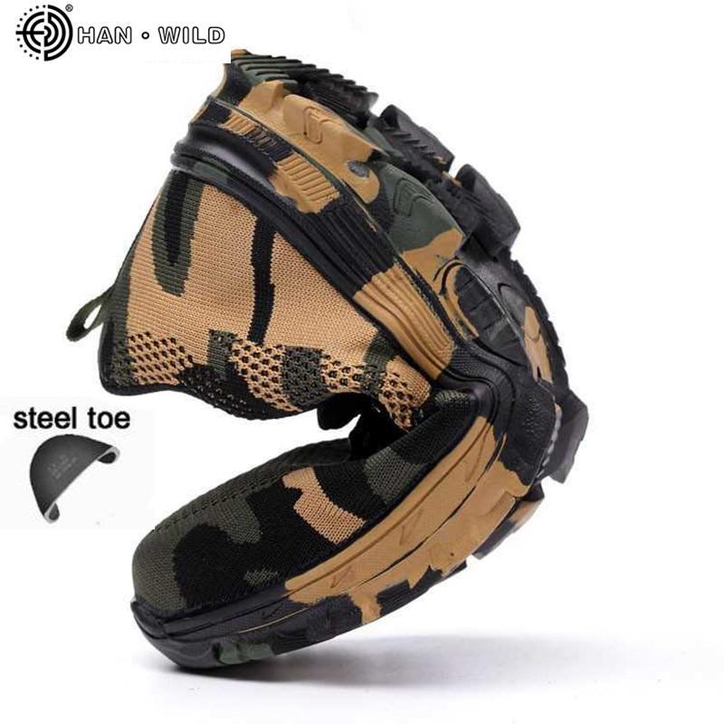 Zapatos de punta de acero de seguridad hombres impermeable trabajo punción prueba Zapatillas para hombre ejército militar Camo botas