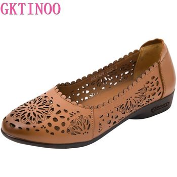 GKTINOO Spring Shoes Women Genuine Leather Flat Retro Female Ballet Shoe Summer Lady Hollow Out Loafers Sandal - discount item  53% OFF Women's Shoes