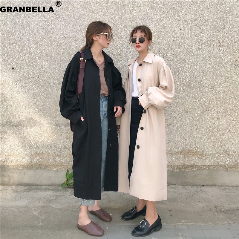 Spring Autumn 2019 Korean Fashion Single Breasted Mid-long Trench Coat Mujer Loose Belt Large Size Windbreak Outwear
