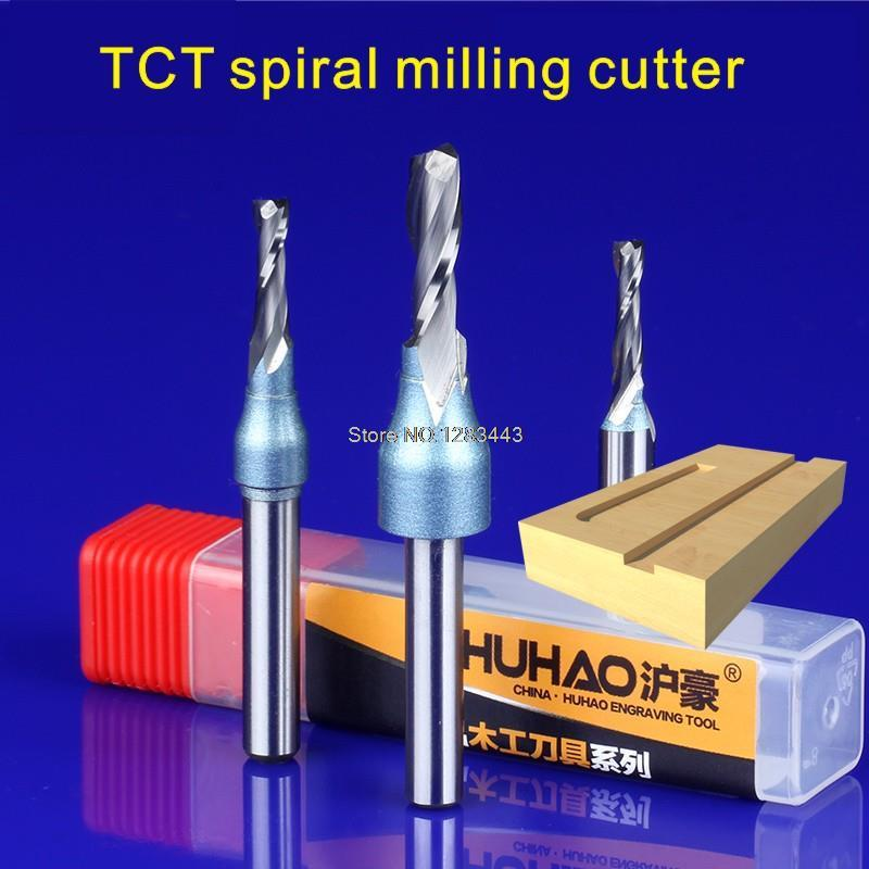 1PC 1/4*5*10 TCT Spiral Straight Woodworking Milling Cutter, Hard Alloy Cutters For Wood,Carpentry Engraving Tools 5928