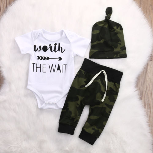 3 PIECES Toddler Newborn Baby Boy Romper Shirt Tops And Camouflage Pants Outfits Clothes