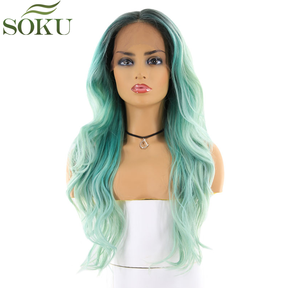 SOKU Wigs Lace-Front Green-Color Synthetic Heat-Resistant Glueless Black Women Wavy