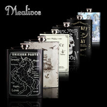 Mealivos 6 kinds of style Flask 8 oz Stainless Steel Hip Flask drinkware Alcohol Liquor Whiskey Bottle groomsman gifts wine pot