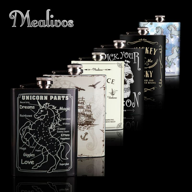 Mealivos Fashion 8 oz hip flask stainless steel Flask for Alkohol - Dapur, makan dan bar