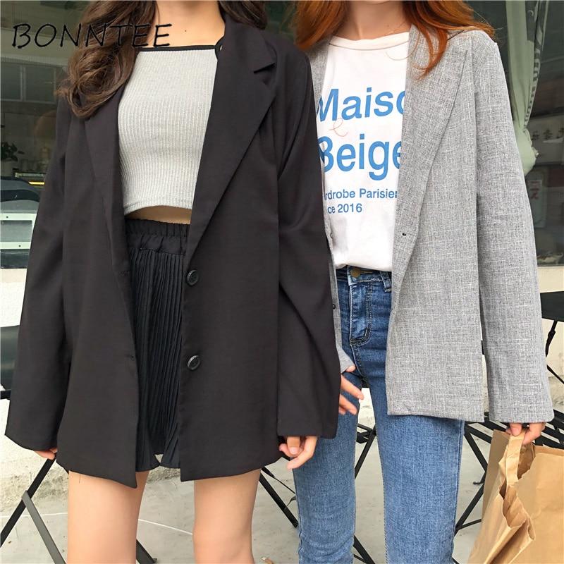 Blazers New Women Retro Single Breasted All-match Simple Chic Jackets Womens Trendy Korean Style Ladies Elegant Daily Fashion