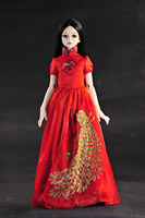 Limited Edition Cloth Wear Fit For 55cm 60cm 1 3 BJD Dolls Toys Chinese Style Red