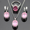 Charming Christmas Gift Pink Created Topaz Silver Color Jewelry Sets For Women Necklace/Pendant /Drop Earrings/Rings Free Box