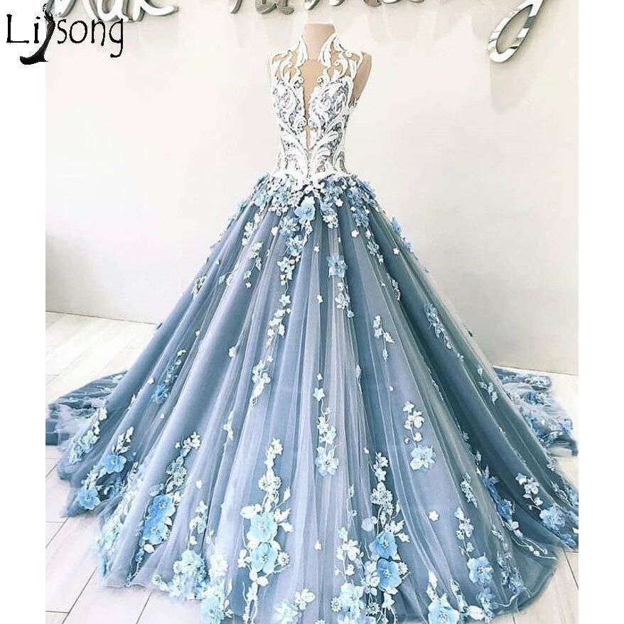 New Arrival Luxury Blue Prom Dresses Elegant 3D Floral Appliques Ball Gown Evening Dress Dubai Arabic