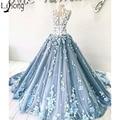 New Arrival Luxury Blue <font><b>Prom</b></font> <font><b>Dresses</b></font> Elegant 3D Floral Appliques Ball Gown Evening <font><b>Dress</b></font> Dubai Arabic Formal Wear Robe De Soiree