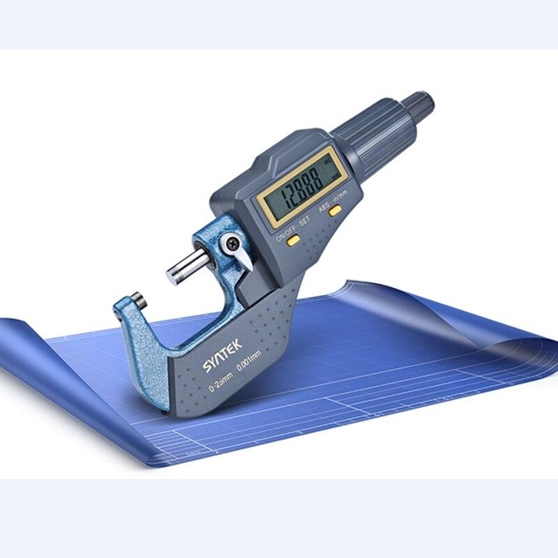 0-25mm Micron Digital Outside Micrômetro Micrômetro Eletrônico Medidor de Bitola 0.001mm Espessura Calibre De Medição De Ferramentas Com Caixa