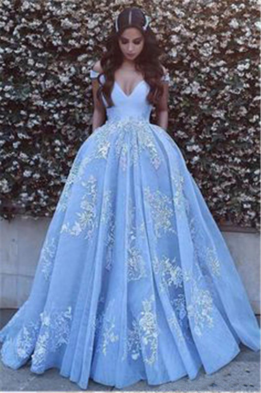 Sky Blue Robe De Soiree 2019 Ball Gown Off The Shoulder Tulle Lace Long Women Party   Prom     Dresses     Prom   Gown Evening   Dresses