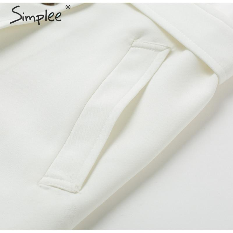 Simplee Solid ruffled sleeve women blazer dress Elegant sash belt office ladies trench dress V-neck shawl party dress vestidos 20