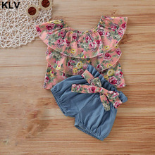 2019 Summer Newborn Baby Girls Floral Print Off-Shoulder Tops T-Shirt + Shorts Pants Outfits