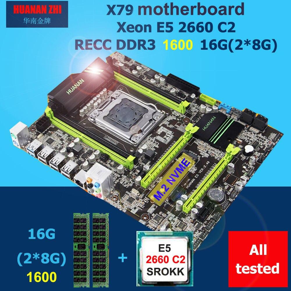 Remise carte mère HUANAN ZHI X79 carte mère CPU RAM ensemble CPU Intel Xeon E5 2660 SROKK 2.2 ghz RAM 16g (2*8g) DDR3 1600 REG ECC