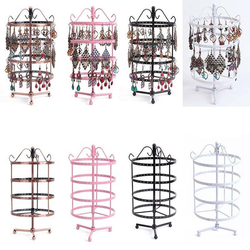 Fashion Four storey Metal Rotating Earring Display Jewelry Display Shelf Earring Holder Jewelry Organizer Earrings Display