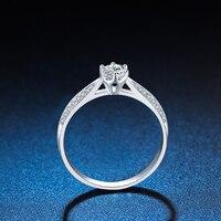 ZHJIASHUN Luxury 0.8ct Round Cut Moissanite Diamond Halo Engagement Ring 14k 585 White Gold Wedding Jewelry For Women Gifts