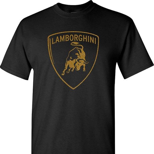 Lamborghini Gold on Black Logo T-Shirt