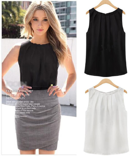 Sexy Fashion Women Lady Girls Elegant Loose Solid Collar Sleeveless Chiffon Vest Tank Tops Blouse Gift