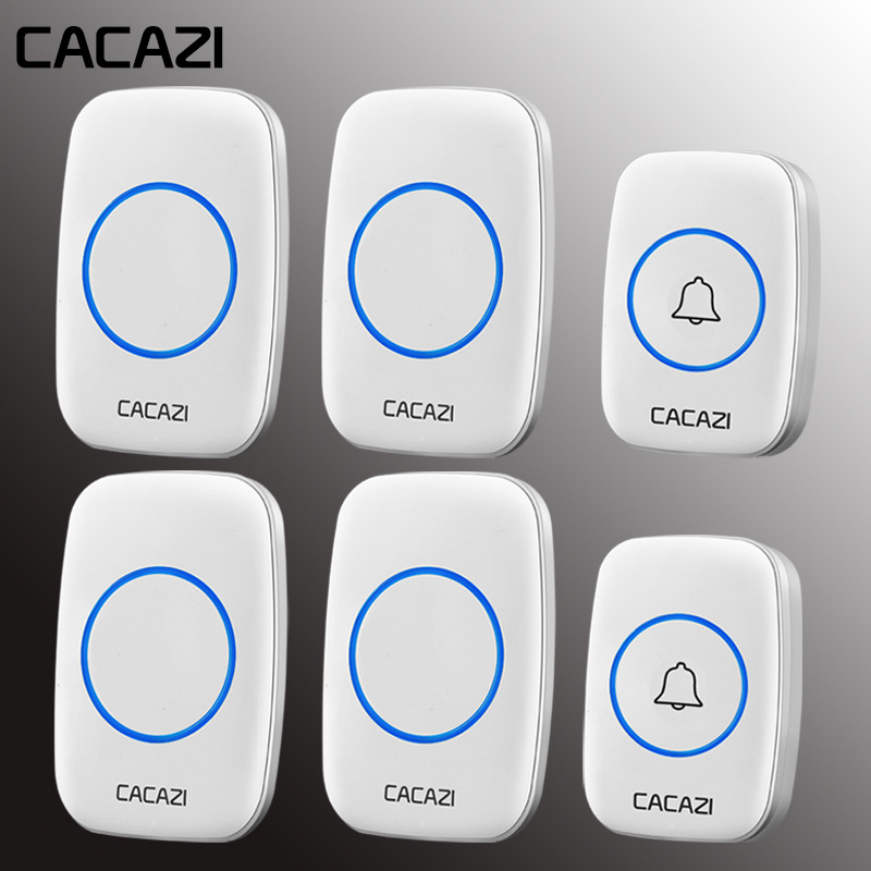CACAZI Smart Home Waterproof Wireless Doorbell LED Light 2 Push Buttons 4 Receivers EU/UK/US Plug Cordless Call Bell 60 ChimesCACAZI Smart Home Waterproof Wireless Doorbell LED Light 2 Push Buttons 4 Receivers EU/UK/US Plug Cordless Call Bell 60 Chimes