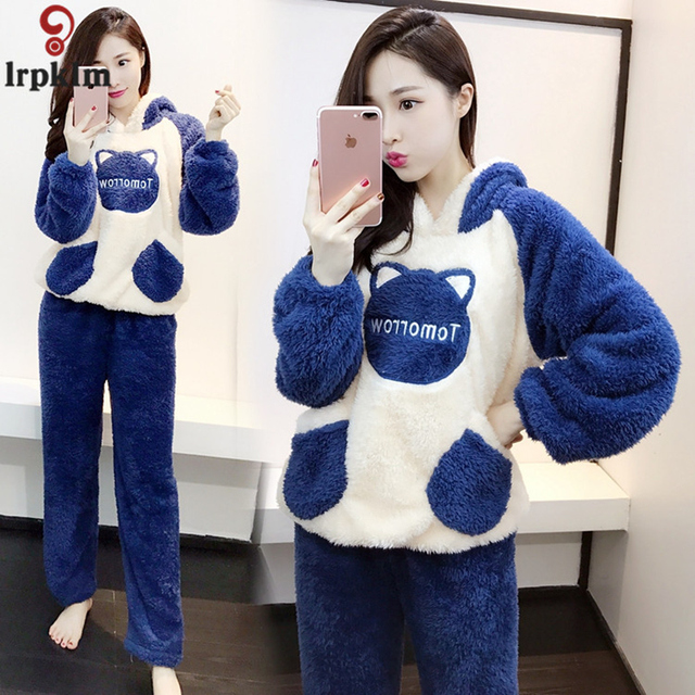 Ladies Cartoon Pajamas Flannel Winter Autumn Warm Night Wear Clothing  Female Pajama Suits Two Piece 2018 New LZ942 0d7e2cc31
