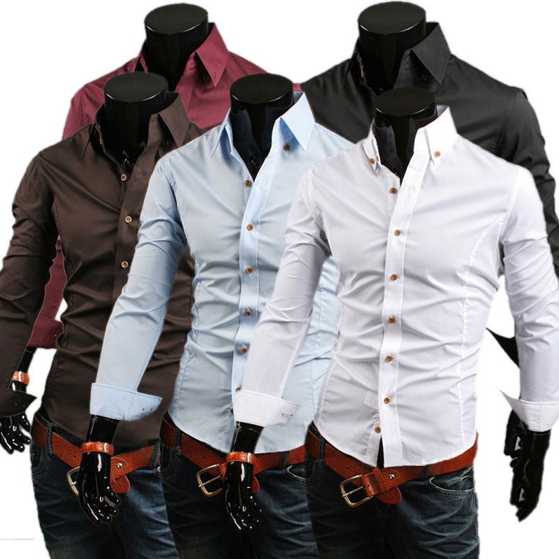 40a5613152a Fashion cheap men shirt Golden Button Casual Fashion Men Slim Fit Blouse  Long Sleeve Single Breasted Thin Shirts on Aliexpress.com
