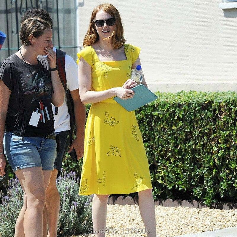 0cf8b57011b8bc La La Land kamień Emma Mia Cosplay żółty eleganckie panie uroda kobiety  długie sukienki na przyjęcie lato styl kobiety sukienki kostiumy w La La  Land kamień ...