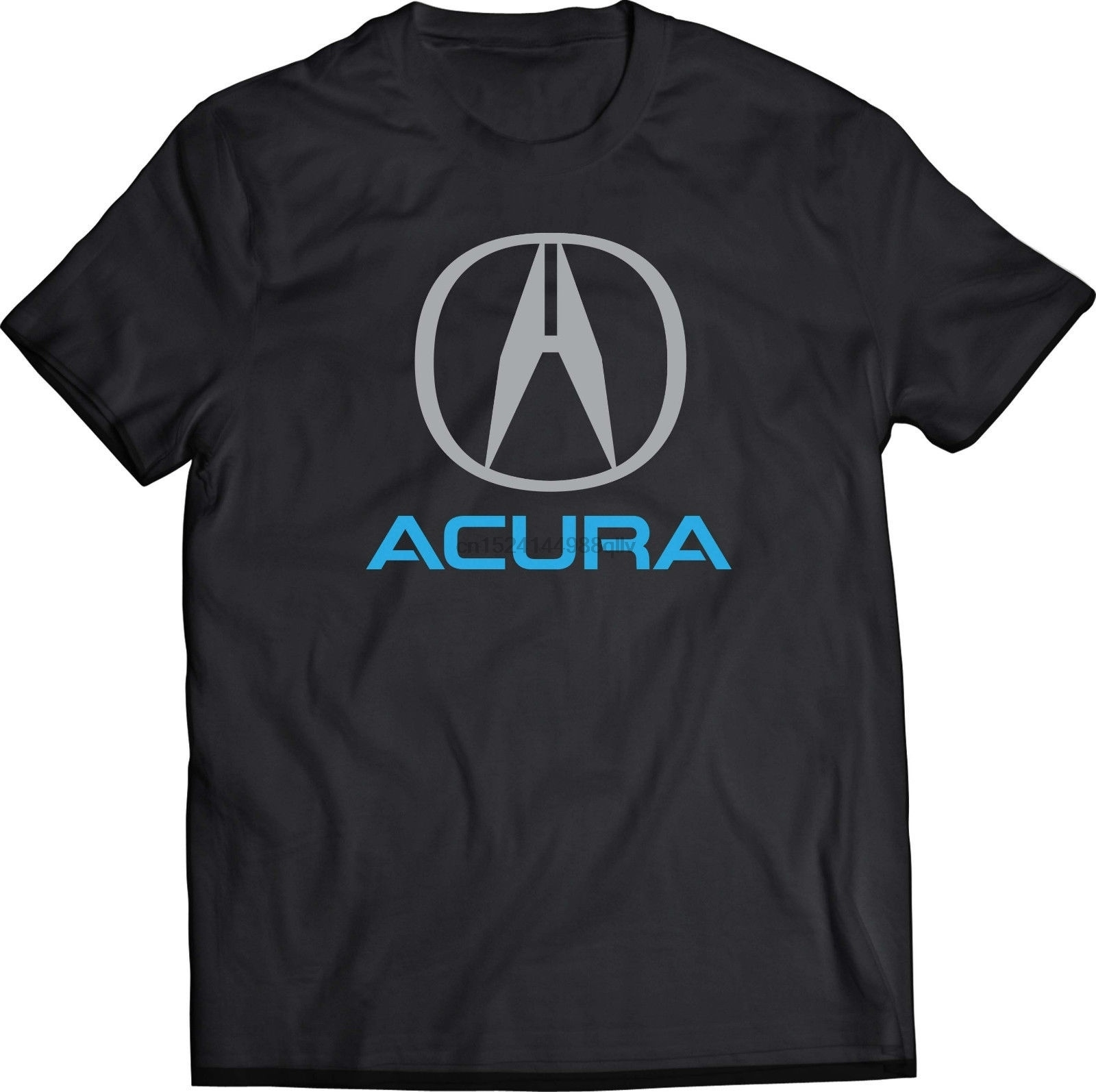 ACURA Black T Shirt Mens Round Neck Short Sleeves Cotton