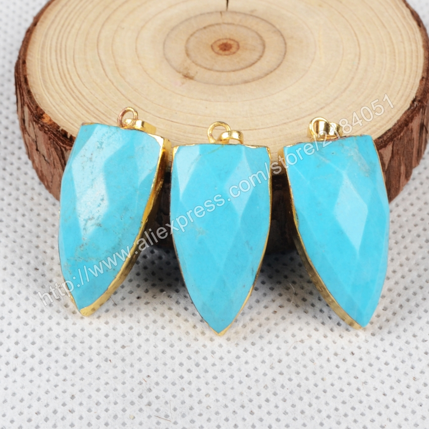 Shield Shape Faceted Blue Howlite Turquoise Gold Plated Necklace Pendant Beads Making Jewelry G0870
