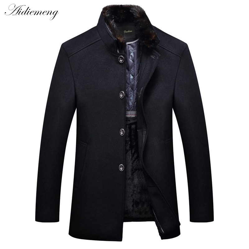 Здесь продается  Men Woolen Blends Coats Winter Fleece Jacket Wool Liner Trench Men Windbreaker Manteau Homme Male Blends Coat Parkas Men Outwear  Одежда и аксессуары
