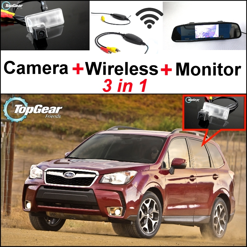 3 in1 Special Rear View Camera + Wireless Receiver + Mirror Monitor DIY Back Up Parking System For Subaru Forester SJ wireless pager system 433 92mhz wireless restaurant table buzzer with monitor and watch receiver 3 display 42 call button
