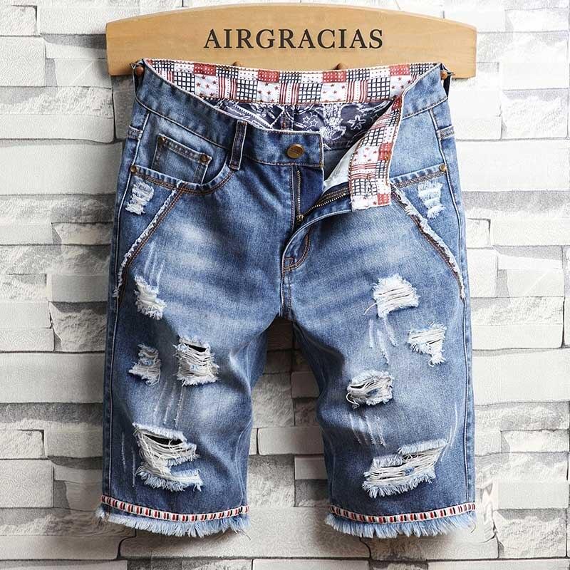 AIRGRACIAS Mens Shorts Ripped Hole Jeans Brand Clothing Cotton Short Breathable Denim Shorts Men New Fashion Bermuda Homme