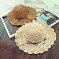 2016 New Korea Lace Bow Visor Sweet Sun Hat Straw Hat Beach Wave Edge Foldable Visor Cap Free Shipping