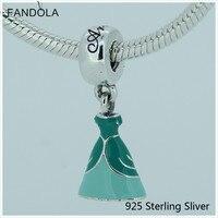 Princesse Ariel Belle Cendrillon Anna Robe Authentique 925 Sterling-Argent-Bijoux DIY Balancent Perles Pour Dame Fabrication de Bijoux cadeaux