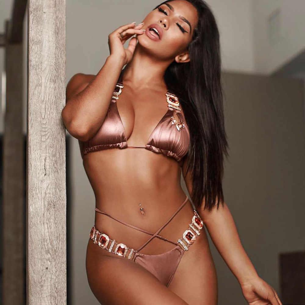 Conjunto de Bikini de cristal sexi de 2019 para mujer, conjunto de Bikini de lujo, cabestro, traje de baño Push Up, traje de playa brasileño Biquini